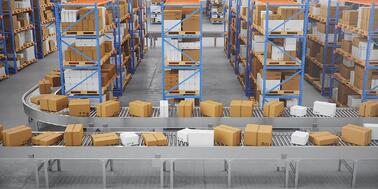 Supply chain warehouse with no workers.
