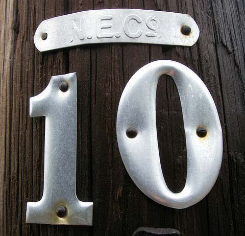 number 10 on utility pole representing cognos 102