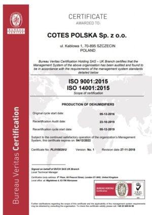 ISO 9001-2015 COTES POLSKA SP. Z O.O.