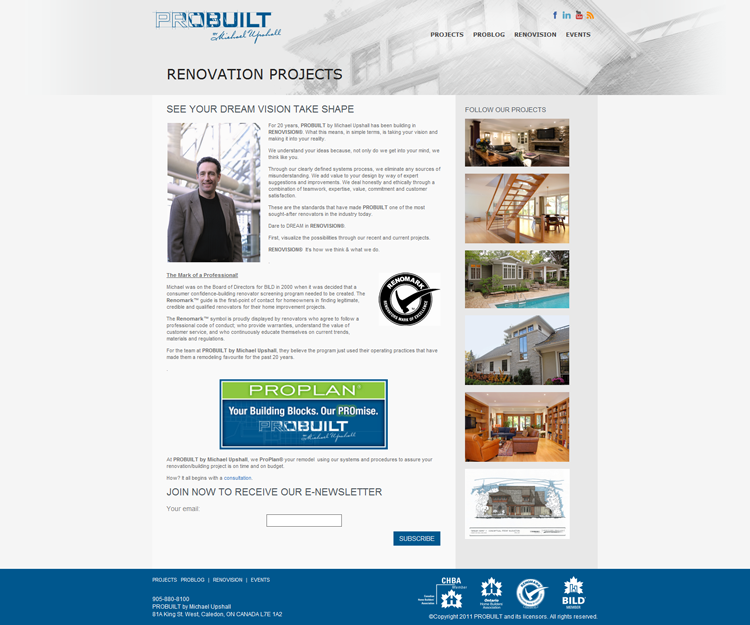 Probuilt Renovations Projects page