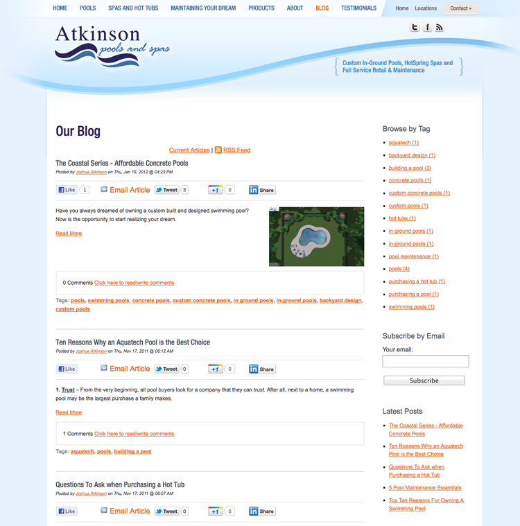 Atkinson Pools Blog page
