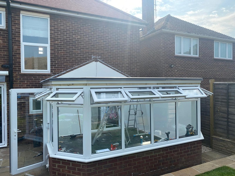conservatory roof conversion being installed