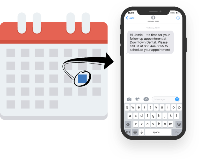 patient-recall-image shows how a patient who hasn't seen their Dentist recently is sent a text alert to schedule an appointment.
