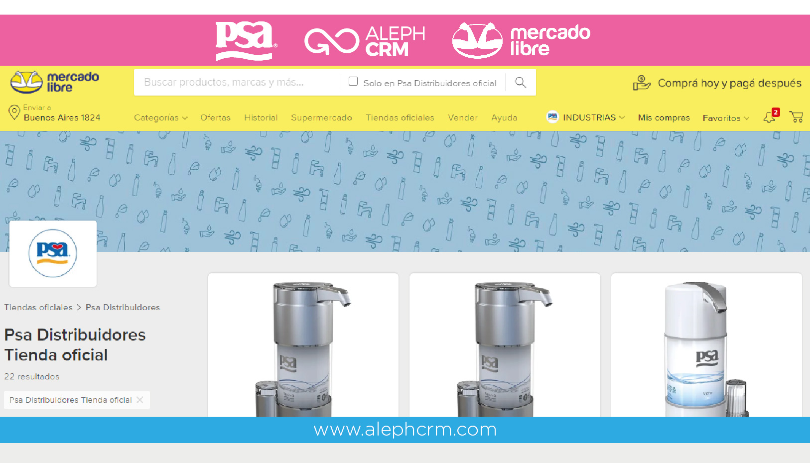 PSA, AlephCRM, MELI and a proposal to purify water