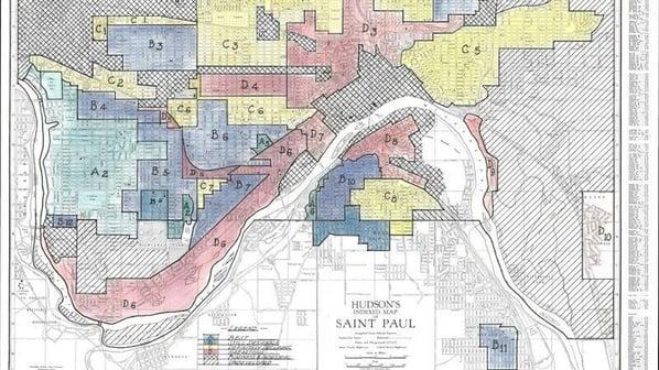 A map of redlining in Saint Paul.
