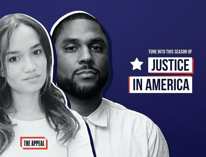 """Black and white cutout images of Josie Duffy Rice and co-host Zak Cheney Rice, against a dark blue background which features a white start next to white text saying """"Tune into this season of Justice in America."""" """"Justice in America"""" is dark blue text in white boxes, that have red shadowing. The words """"The Appeal"""" are encompassed by a red frame in the bottom left, overlaying the Duffy Rice photo. Both are wearing white shirts and looking seriously at the camera."""