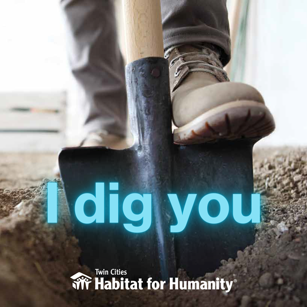"""Photo of a shovel in dirt with text reading """"I dig you."""""""