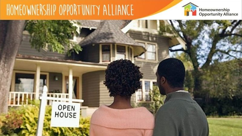 "A couple standing in front of a house with an ""Open House"" sign. At the top is a banner saying ""Homeownership Opportunity Alliance."""