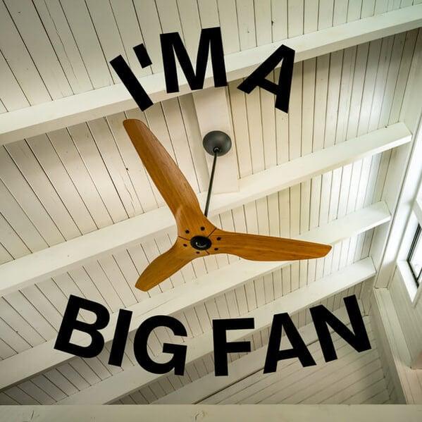 """A meme """"I'm a big fan"""" showing a ceiling fan."""