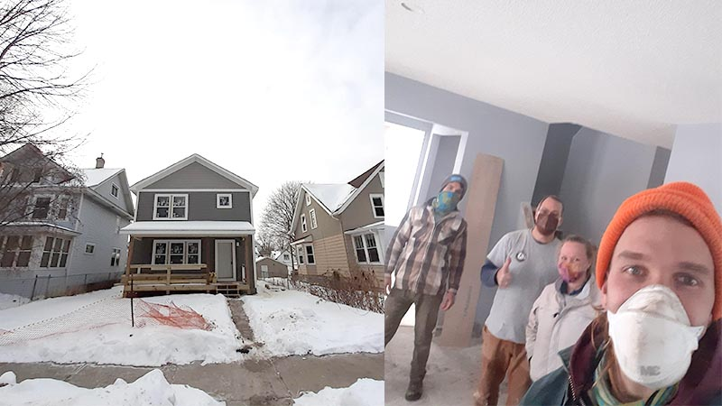 Two shots of the outside of the Thomas Ave home and Isaac with his building crew.