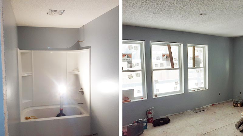 The in-progress bathroom and living room.