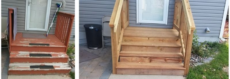 Before and after images of Roy's back stairs.