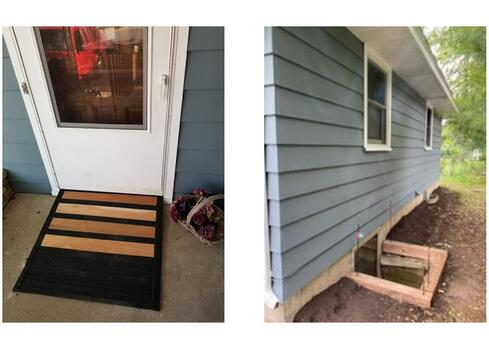 Two images of an accessibility ramp at Sheila's front door, and repaired egress windows.