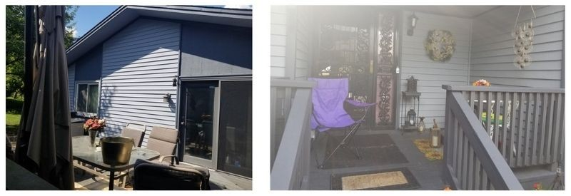Two images of the work done on Lorene's porch and deck.