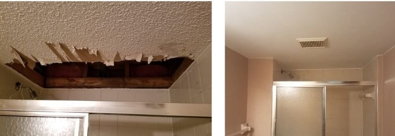 Before and after images of the ceiling in Amber's bathroom.