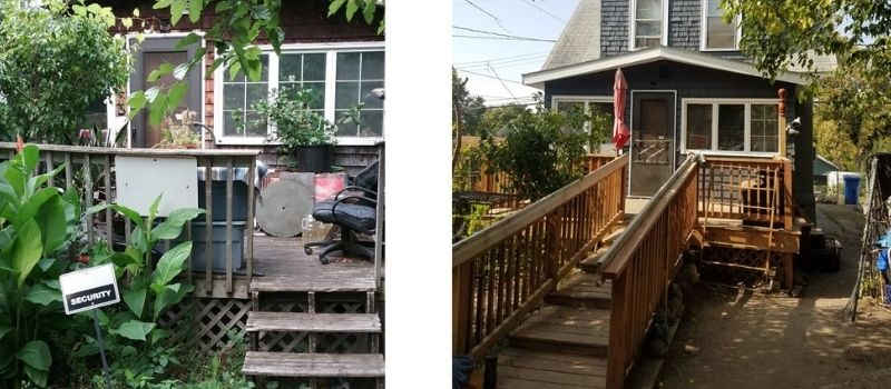 Before and after images of Bert's home.