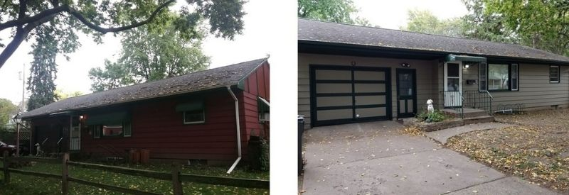 Before and after images of Cynthia's home.