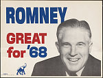 """A poster of George Romney smiling in black and white, with """"ROMNEY"""" in blue letters to the upper left. In red is """"GREAT for"""" and """"'68"""" in blue, with a blue elephant at the bottom of the image."""