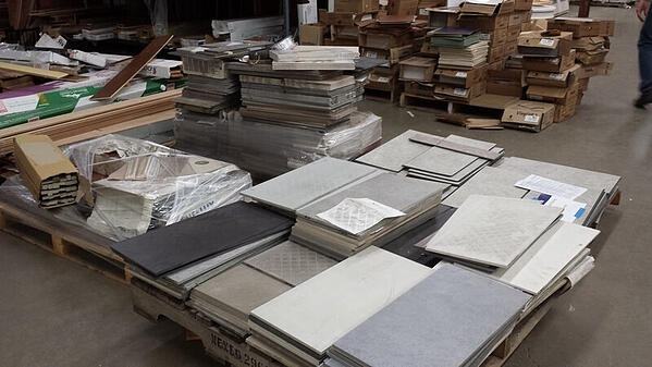 Several piles of building materials.