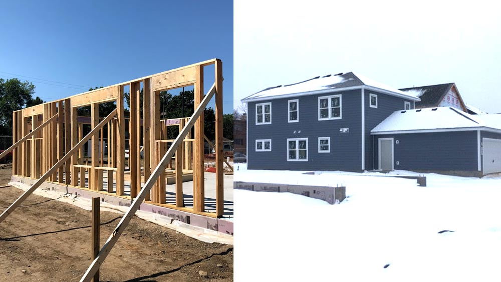 Two pictures. To the left: A single framed wall on the foundations for the house, being held by support beams, back in March 2020. To the right: The finished gray Habitat house in the snow, in 2021.