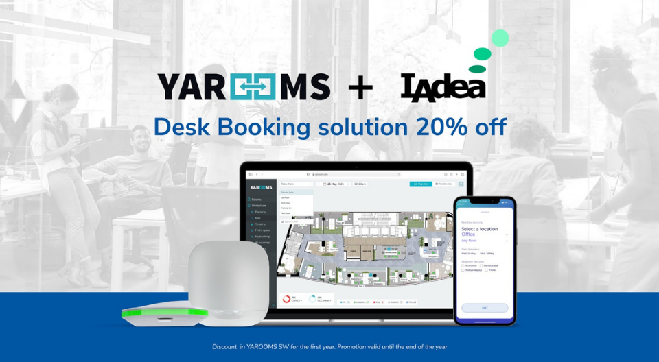 YAROOMS and IAdea offer a 20% discount on their Desk Booking solution