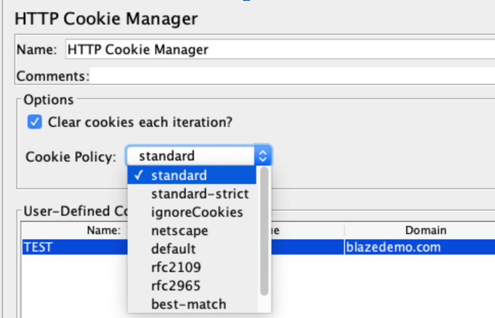 jmeter http cookie manager