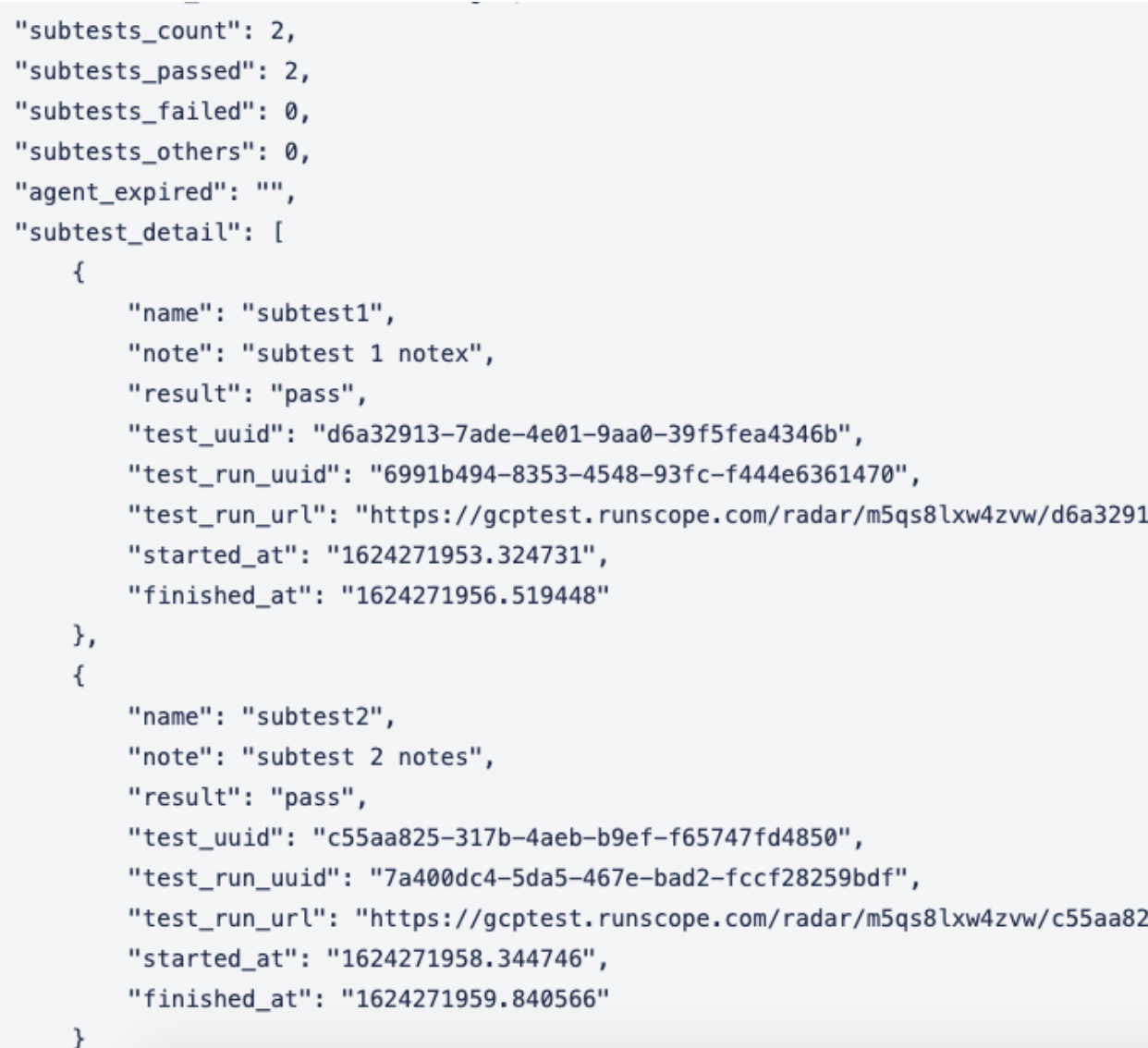 API Monitoring Test Results API Enhanced to include Subtests Details