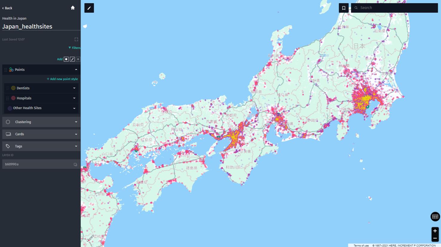 Japan-healthsites created with Studio on HERE platform