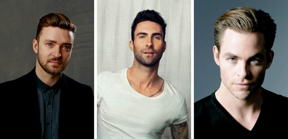 Justin Timberlake, Adam Levine and Chris Pine