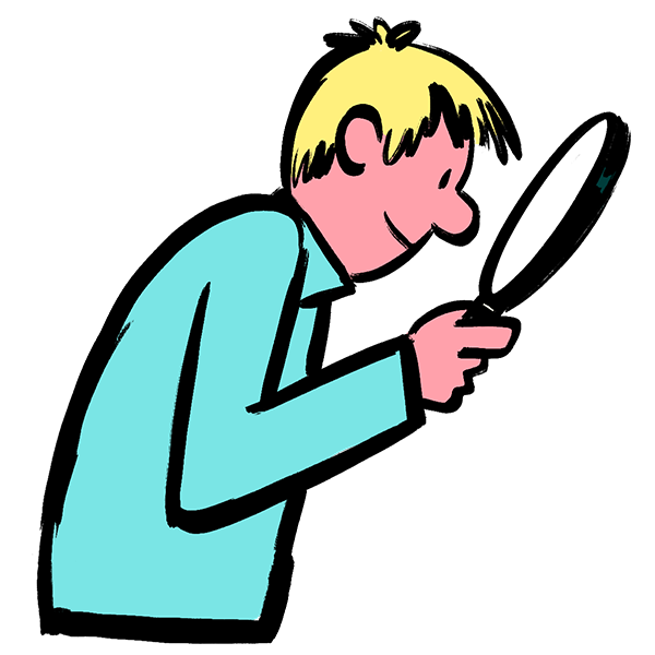 Illustration of man looking through magnifying glass