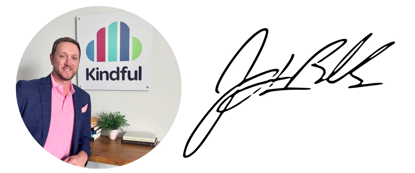 Headshot and signature of Jeremy L. Bolls, Kindful founder and CEO
