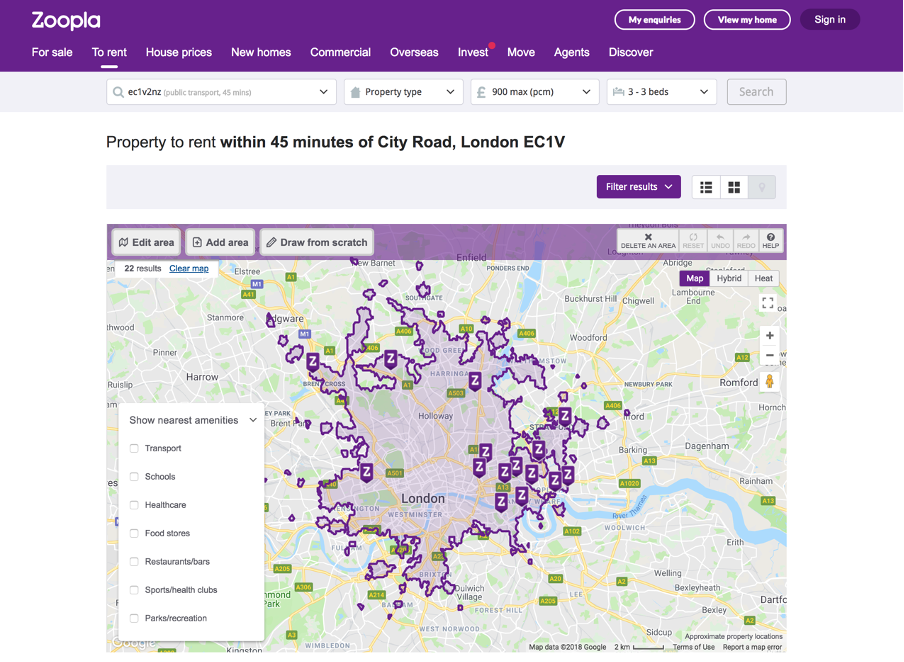 Zoopla website search relevance using travel time
