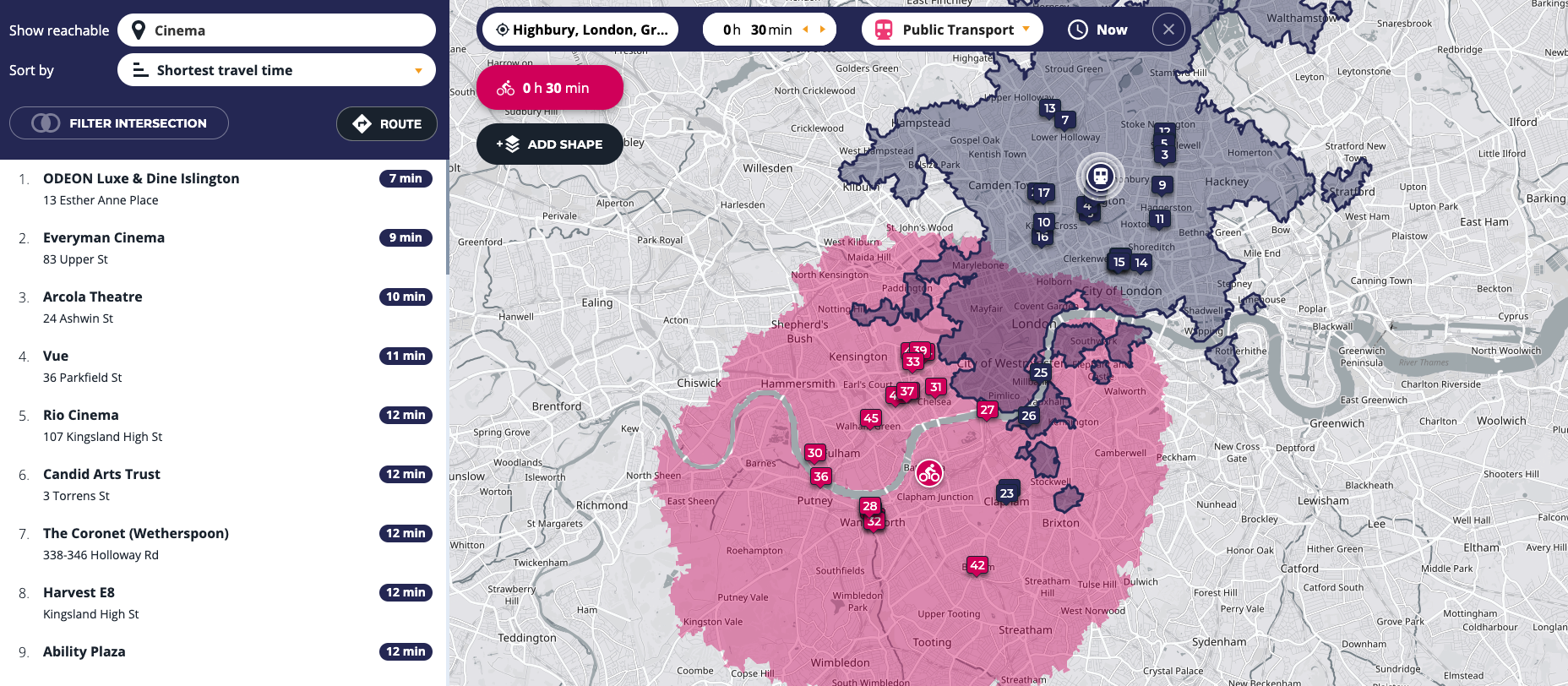 Points of interest_isochrone map