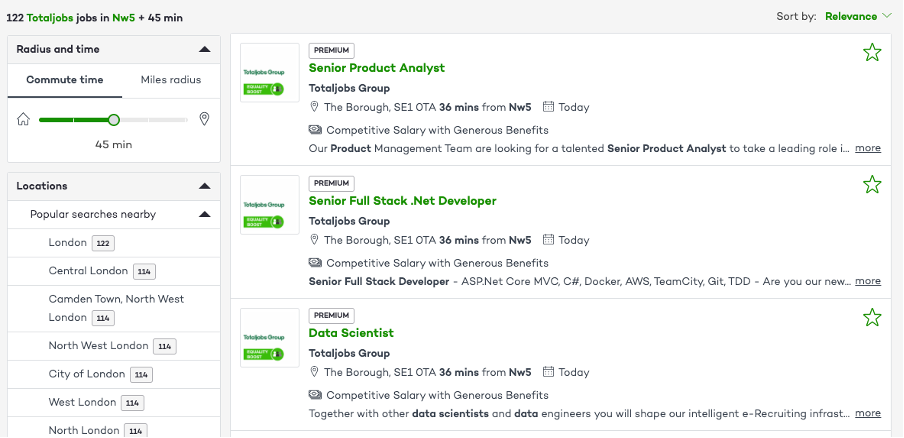 Totaljobs search filter and ranking by travel time