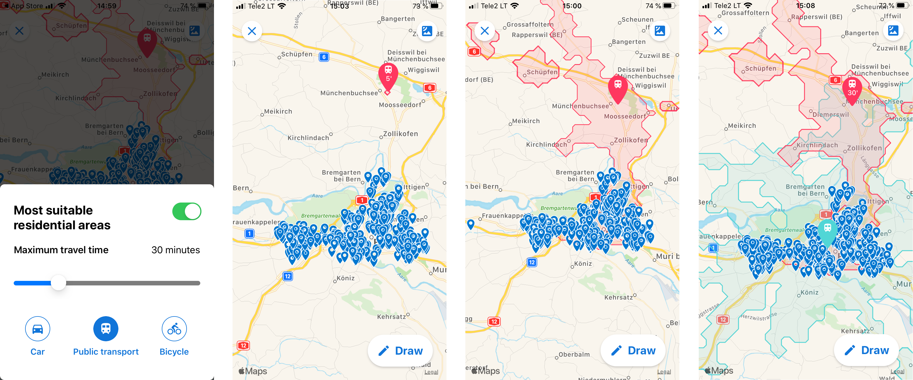 Property search filtered by travel time