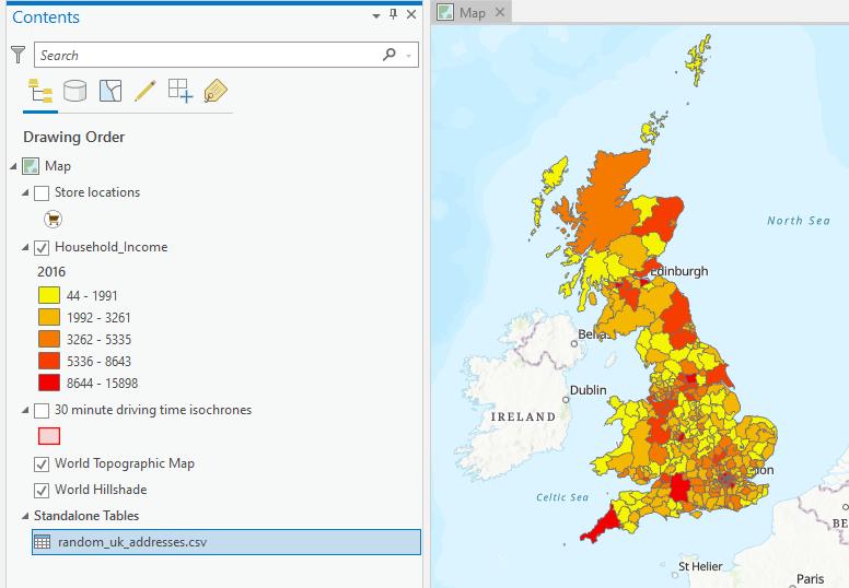 Income distribution map