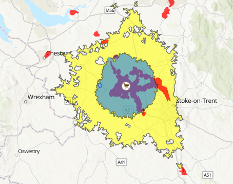 45-minute cycling catchment area