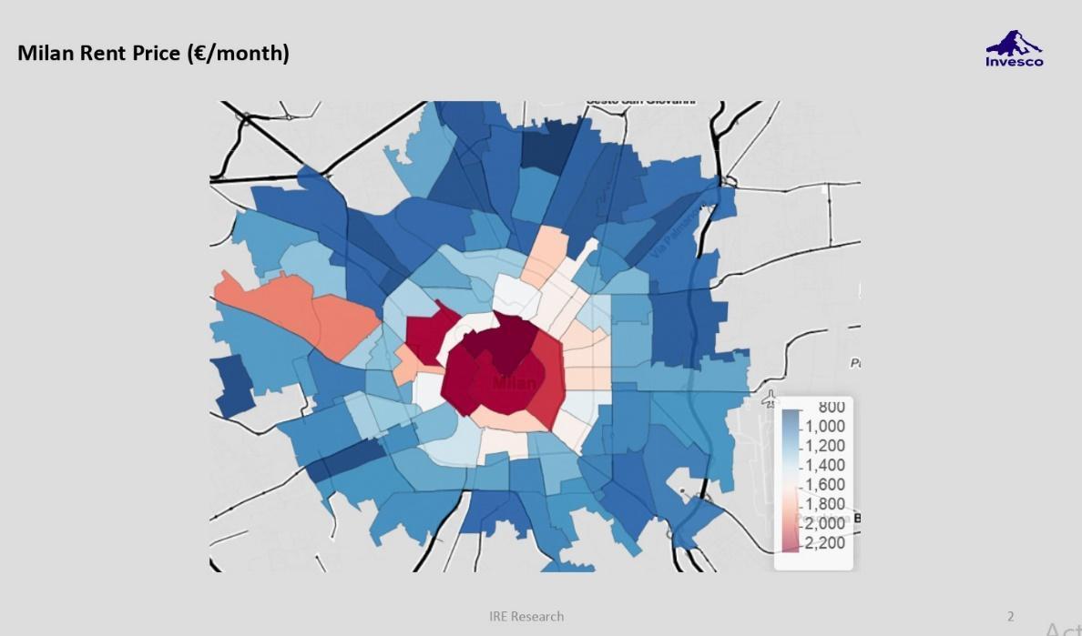 Variation in rent prices heat map