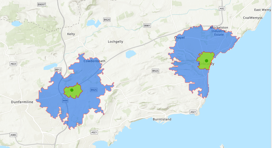 walking and cycling travel time catchment areas