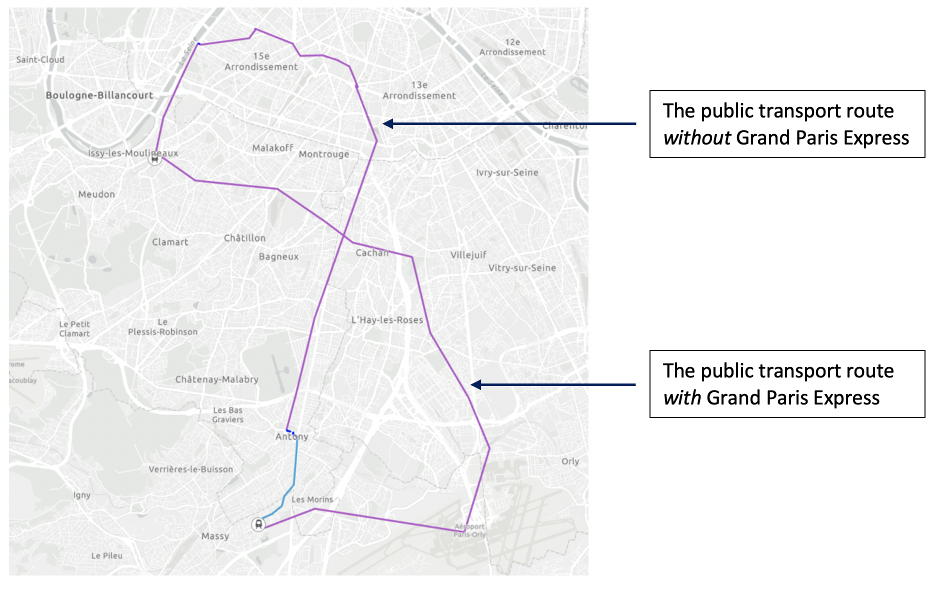 Public transport routes with and without Grand Paris Express