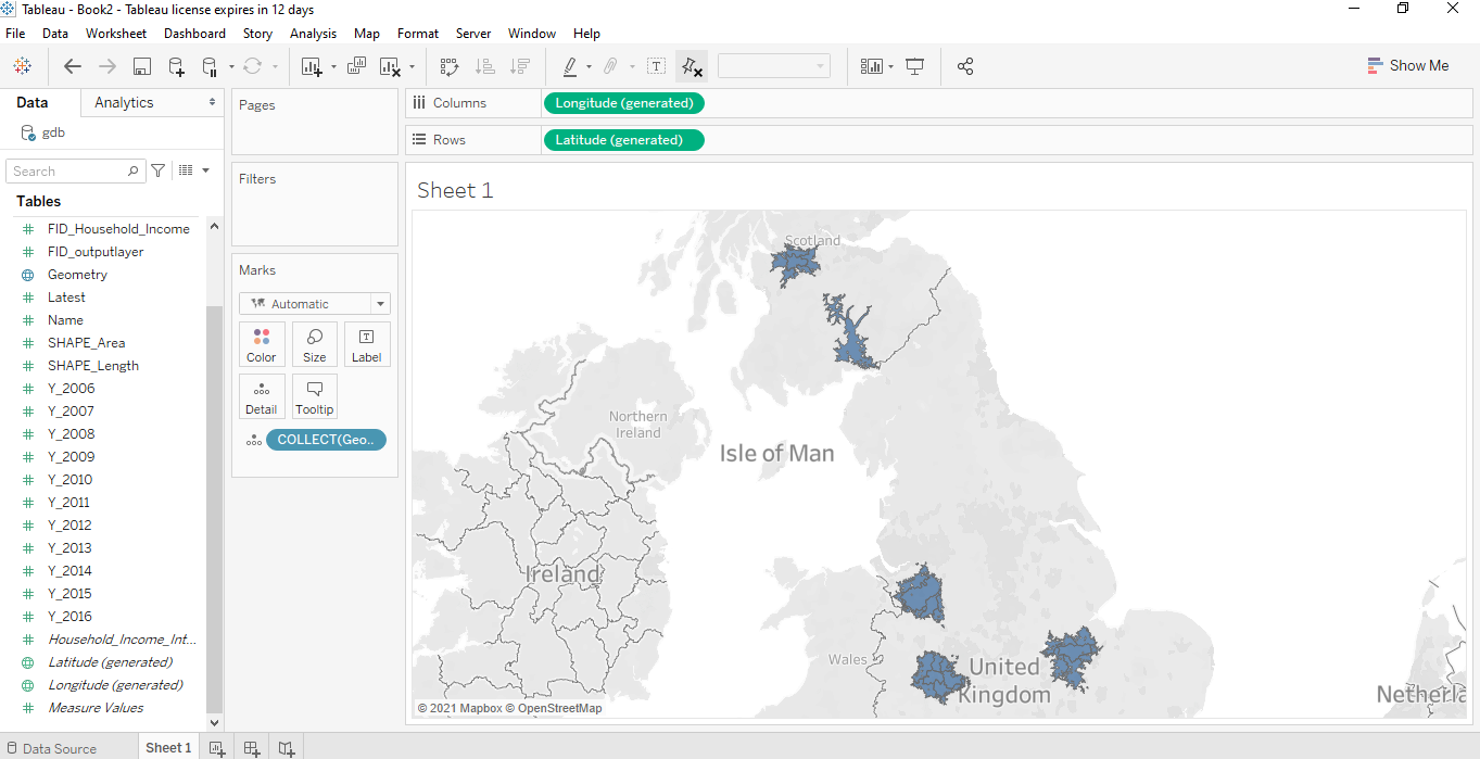 Travel time data visualisation in Tableau