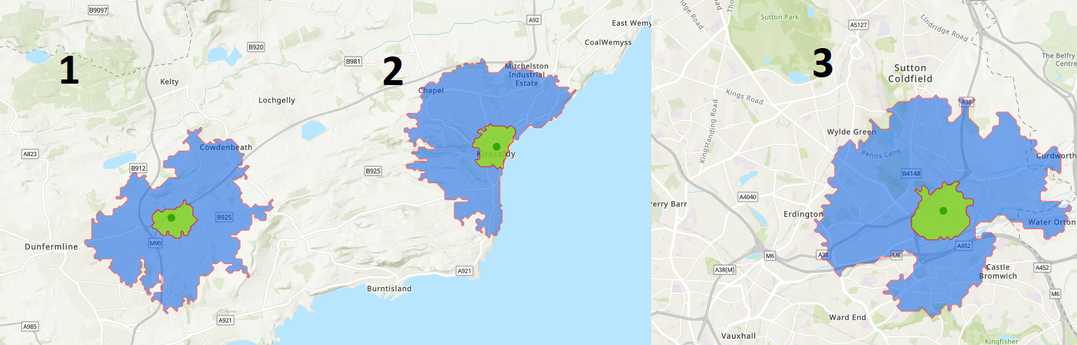 walking and cycling catchment areas