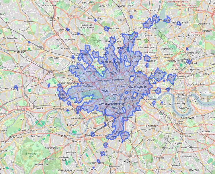 isochrone map - TravelTime API