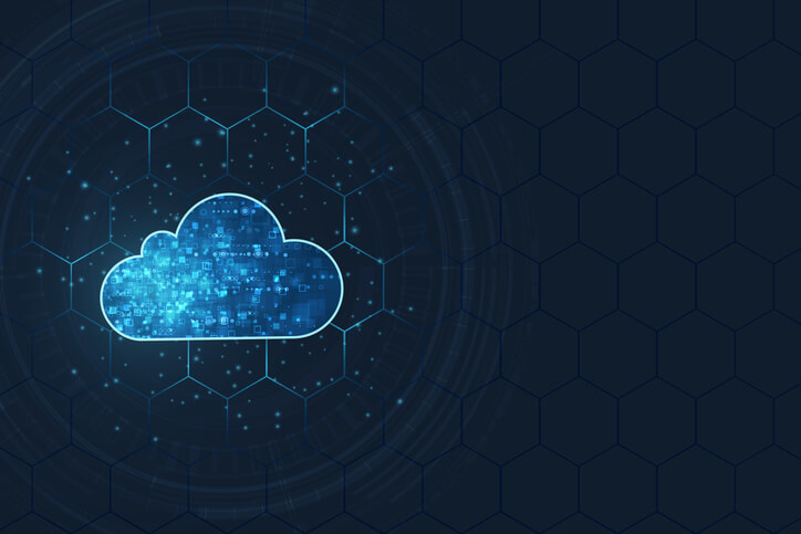 Cloud computing connected to digital background