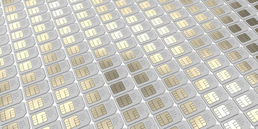 Many SIM cards lined up