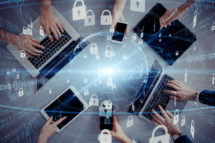 group at a cybersecurity firm working together