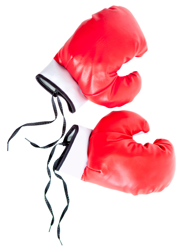 Red boxing gloves - isolated over a white background