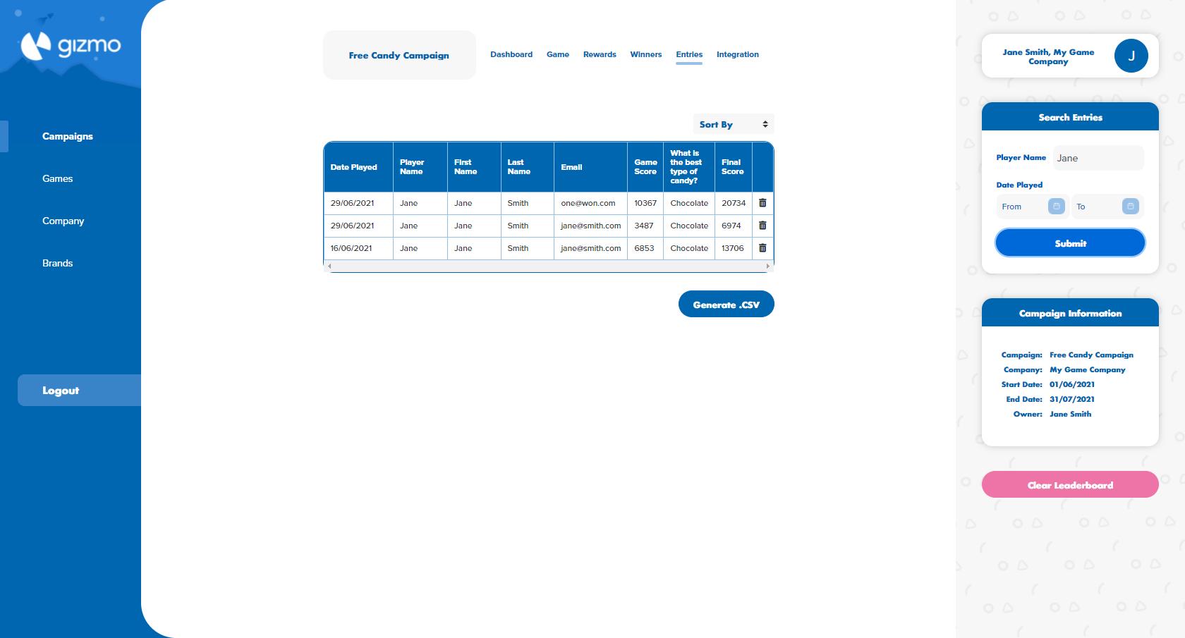 Clear Leaderboard Button - Gizmo