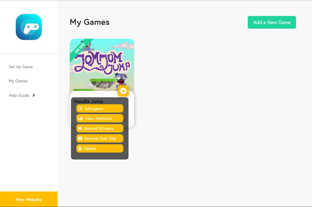 Edit Game Menu - Wix