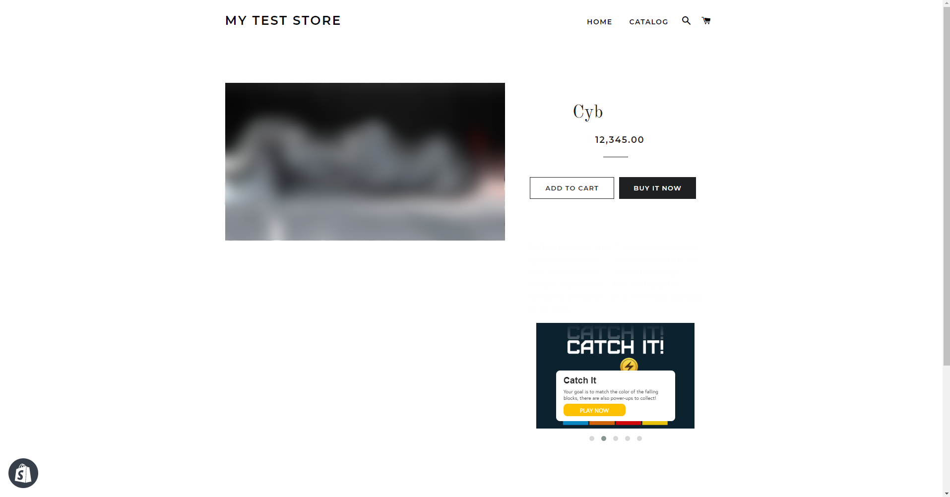 Game on Product Page - Shopify